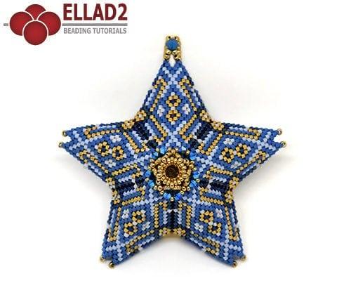 Tutorial de abalorios Colgante Estrella en punta peyote de Ellad2