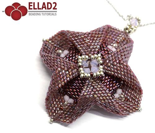 Tutorial Colgante Flor Cuckoo con abalorios de Ellad2