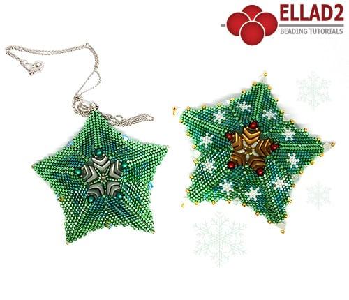 Tutorial di perline Pendente Fiocco Di Neve e Ornamento di Natale di Ellad2