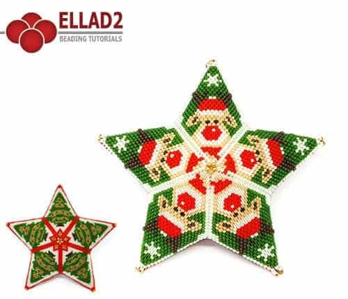 Kralen Patroon Rudolph the red nosed star ornament voon Ellad2
