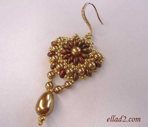 Beading Tutorial Sunflower  Earrings by Ellad2
