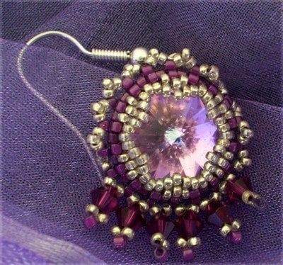 Round Rivoli stone :Shetland Lilac bead ring kit