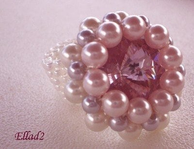 Beading Tutorial Pink Rivoli Crystal Ring