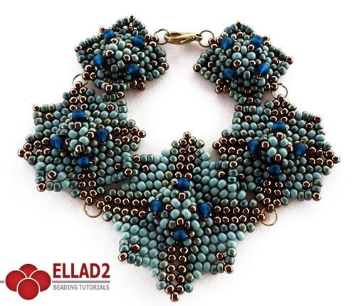 Beading tutorial blue square bracelet by Ellad2