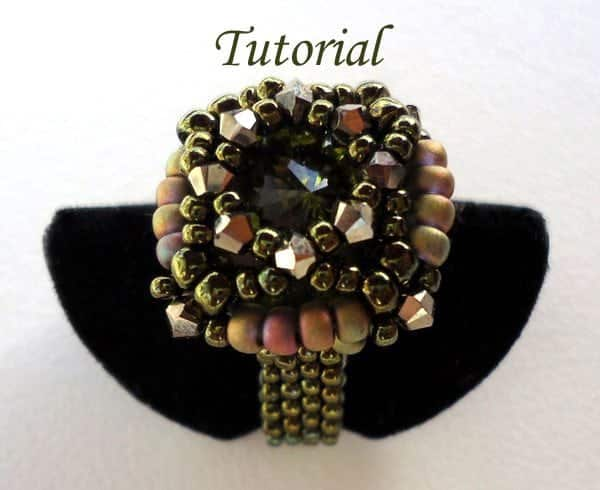 Beading Tutorial Green Rivoli Ring