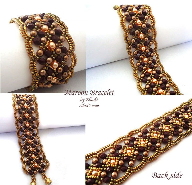 maroon bracelet beading tutorials and patterns by ellad2