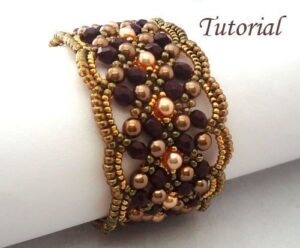Beading Tutorial Maroon Bracelet by Ellad2