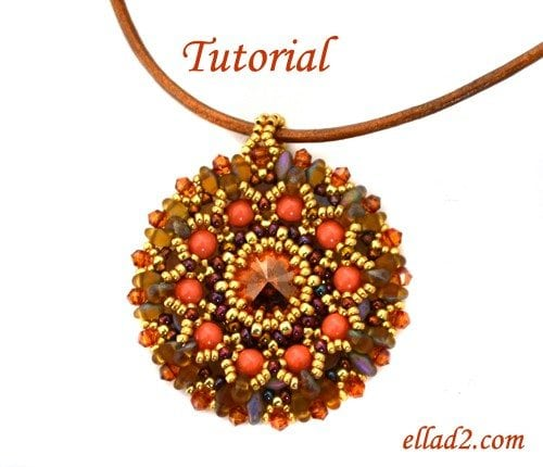 Beading tutorial Aster Pendant by Ellad2