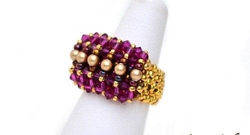 Beading Pattern Ring Malina by Ellad2