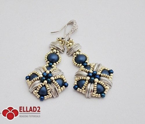 Beading Pattern Tara Earrings with Crescent beads by Ellad2