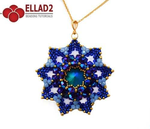 Beading Tutorial Royal Flower Pendant by Ellad2