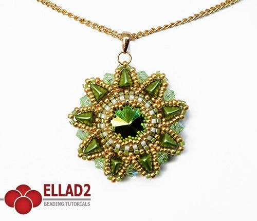 Beading Tutorial Hara Flower Pendant by Ellad2