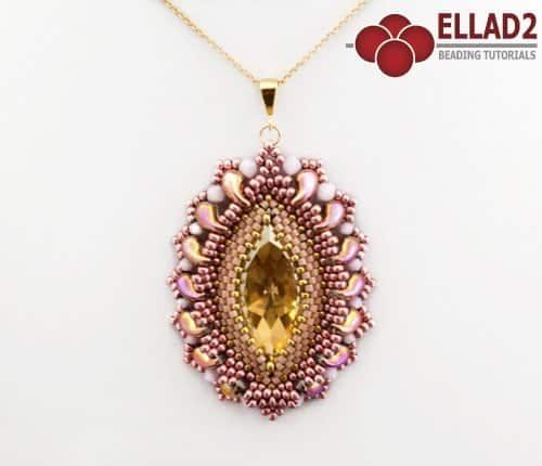 Beading tutorial Sunset Pendant with Zoludo Beads by Ellad2