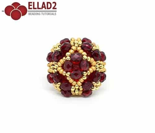 Beading Tutorial Mila Ring with fire-polished beads by Ellad2