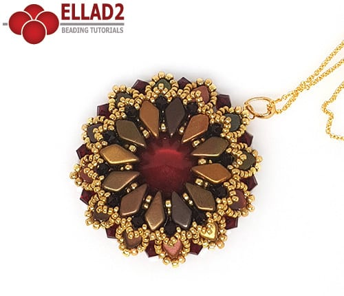 Beading pattern Kite Flower Pendant with Kite beads by Ellad2