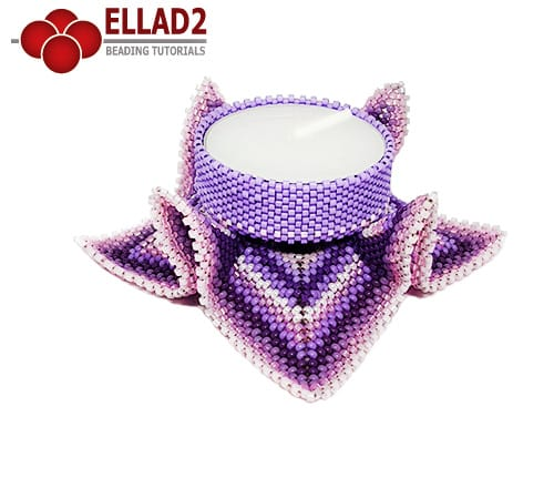 Beading Tutorial Tealight candle holder beaded by Ellad2