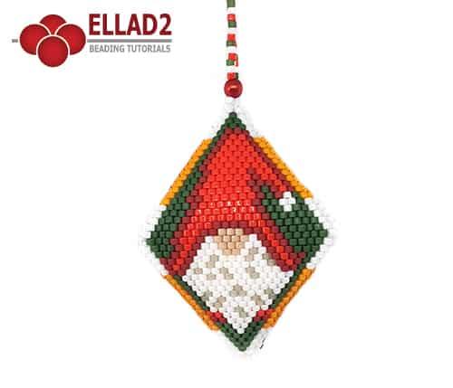 Beading Pattern Gnome 3D Pod Christmas Ornament