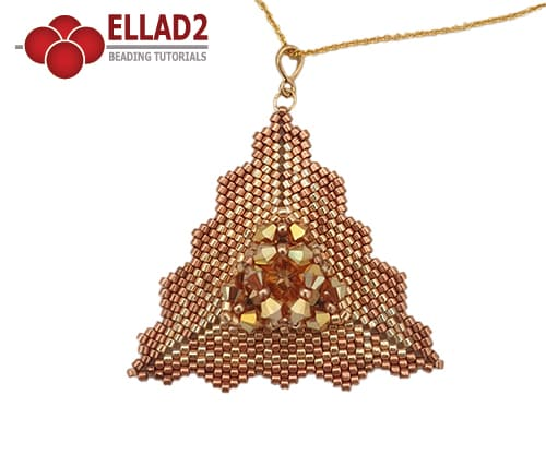 Beading tutorial Maima Triangle pendant in peyote stitch by Ellad2